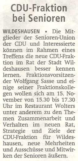 CDU-Fraktion bei SeniorenDie Mitglieder der Senioren-Union der CDU... // Treffen am 15.11.2011 um 15.30 Uhr im Restaurant WoltersArtikel vom 09.11.2011 (WZ)