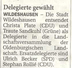 Delegierte gewähltLandschaftsversammlung der Oldenburgischen Landschaft...Artikel vom 11.11.2011 (NWZ)