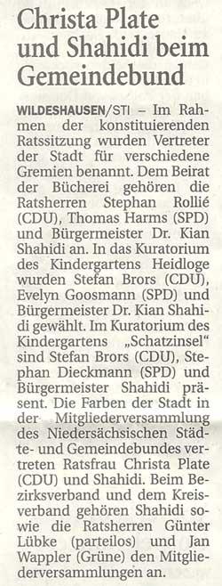 Christa Plate und Shahidi beim GemeindebundIm Rahmen der konstituierenden Ratssitzung wurden...Artikel vom 11.11.2011 (NWZ)