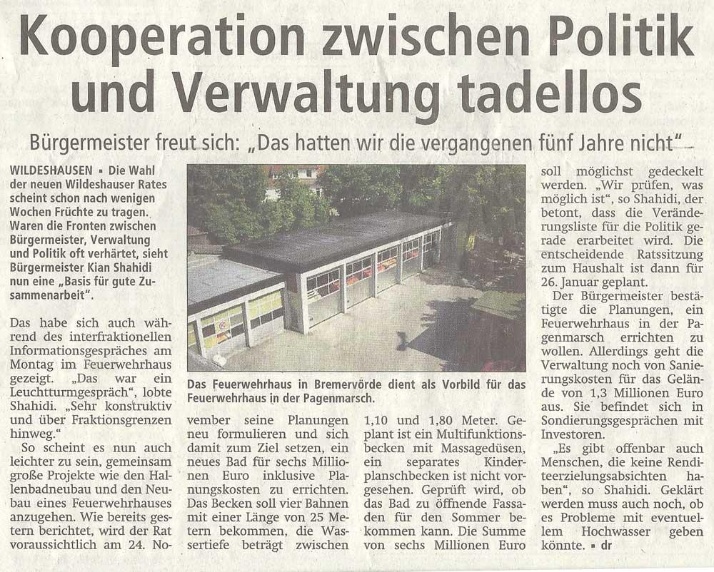 Kooperation zwischen Politik und Verwaltung tadellosBürgermeister freut sich: 'Das hatten wir die vergangenen fünf Jahre nicht'Artikel vom 12.11.2011 (WZ)