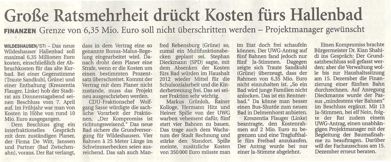 Große Ratsmehrheit drückt Kosten fürs HallenbadFinanzen: Grenze von 6,35 Mio. Euro soll nicht überschritten werden - Projektmanager gewünschtArtikel vom 25.11.2011 (NWZ)