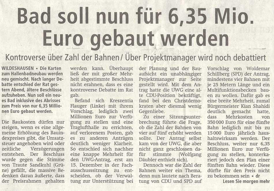 Bad soll nun für 6,35 Mio. Euro gebaut werdenKontroverse über Zahl der Bahnen / Über Projektmanager wird noch debattiertArtikel vom 25.11.2011 (WZ)