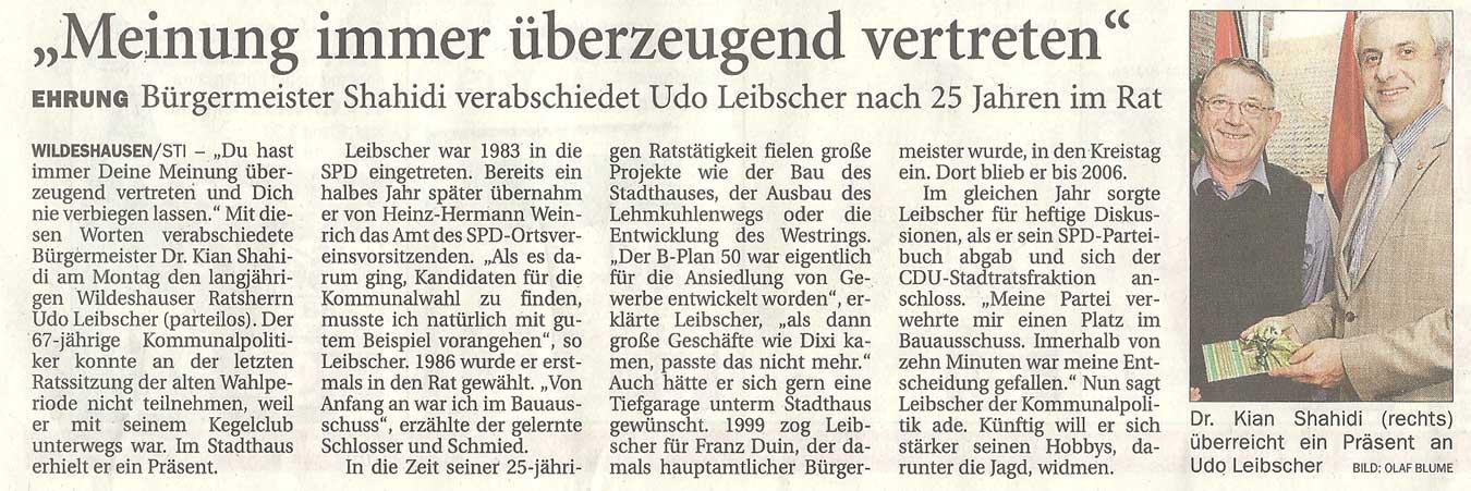 'Meinung immer überzeugend vertreten'Ehrung: Bürgermeister Shahidi verabschiedet Udo Leibscher nach 25 Jahren im RatArtikel vom 29.11.2011 (NWZ)