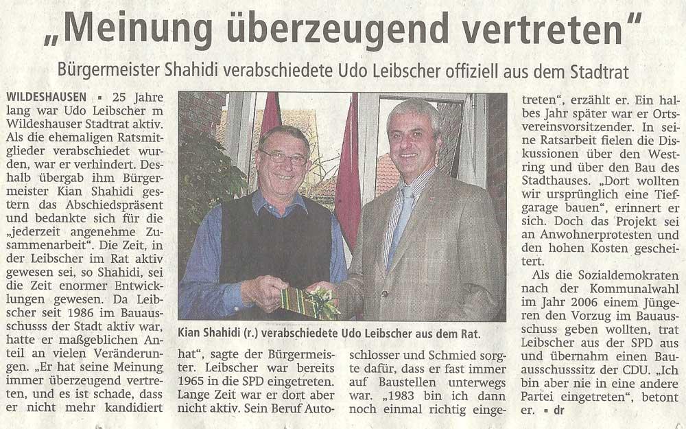 'Meinung überzeugend vertreten'Bürgermeister Shahidi verabschiedete Udo Leibscher offiziell aus dem StadtratArtikel vom 29.11.2011 (WZ)