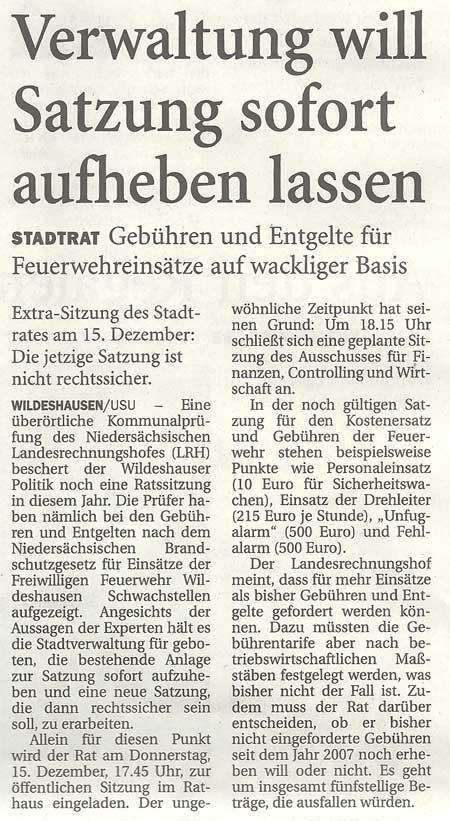 Verwaltung will Satzung sofort aufheben lassenStadtrat: Gebühren und Entgelte für Feuerwehreinsätze auf wackliger BasisArtikel vom 02.12.2011 (NWZ)