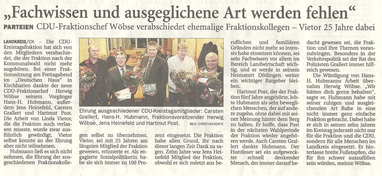 'Fachwissen und ausgeglichene Art werden fehlen'Kreistag // Parteien: CDU-Fraktionschef Wöbse verabschiedet ehemalige Fraktionskollegen - Vietor 25 Jahre dabeiArtikel vom 12.12.2011 (NWZ)