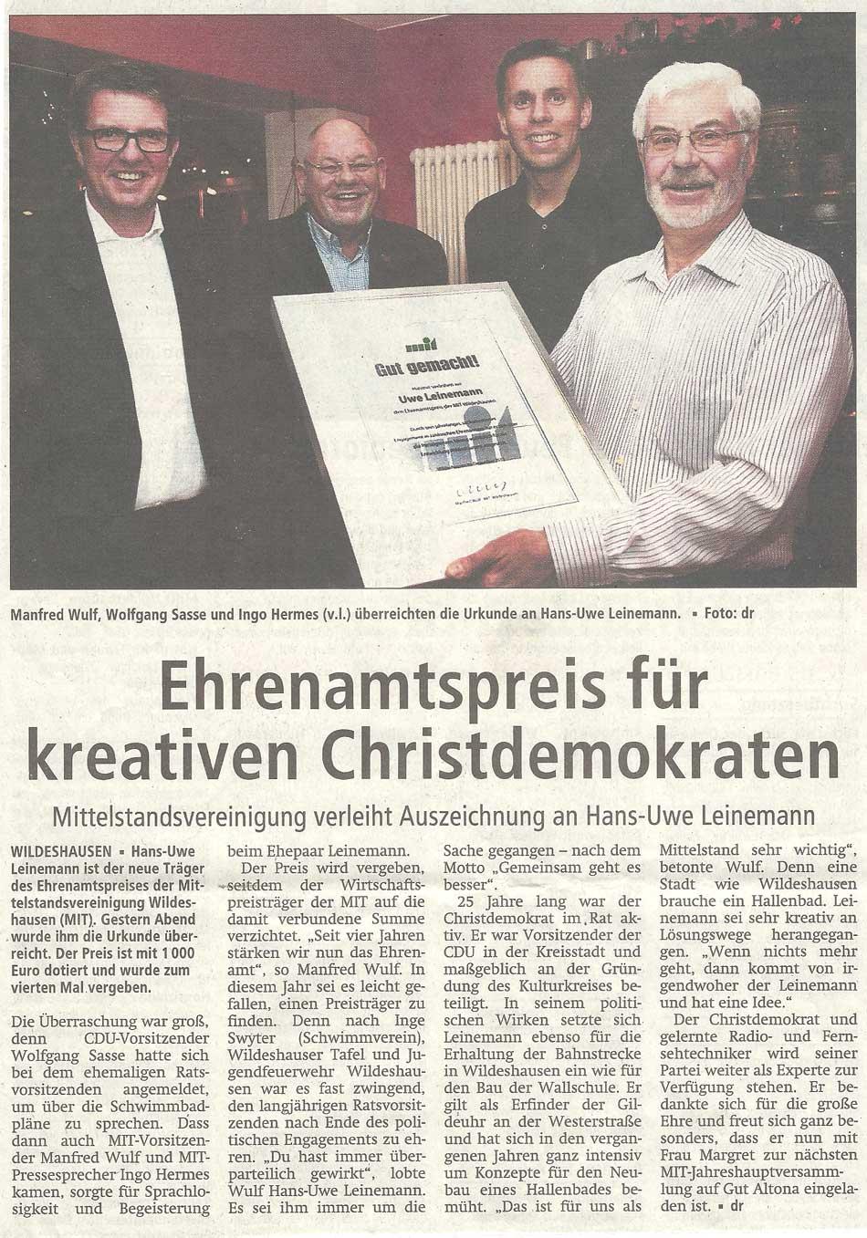 Ehrenamtspreis für kreativen ChristdemokratenMittelstandsvereinigung verleiht Auszeichnung an Hans-Uwe LeinemannArtikel vom 13.12.2011 (WZ)