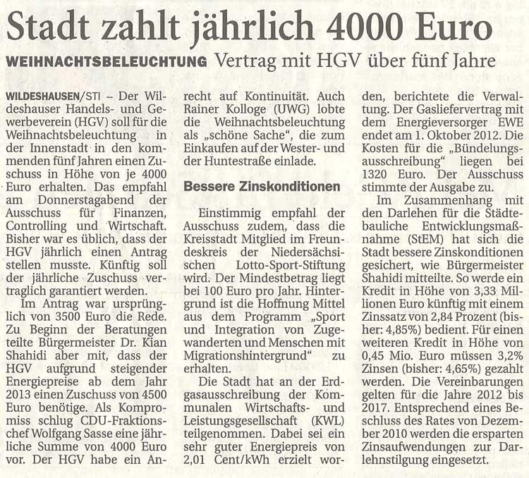 Stadt zahlt jährlich 4000 EuroWeihnachtsbeleuchtung: Vertrag mit HGV über fünf JahreArtikel vom 17.12.2011 (NWZ)