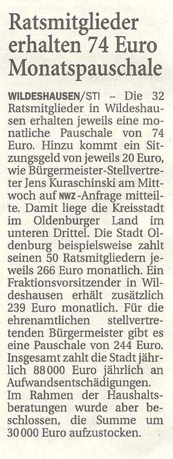 Ratsmitglieder erhalten 74 Euro MonatspauschaleDie 32 Ratsmiglieder in Wildeshausen erhalten...Artikel vom 22.12.2011 (NWZ)