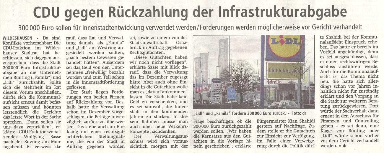 CDU gegen Rückzahlung der Infrastrukturabgabe300 000 Euro sollen für Innenstadtentwicklung verwendet werden / Forderungen werden möglicherweise vor Gericht verhandeltArtikel vom 11.01.2012 (WZ)