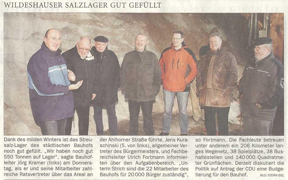 Wildeshauser Salzlager gut gefülltDank des milden Winters ist das Streusalz-Lager...Artikel vom 13.01.2012 (NWZ)