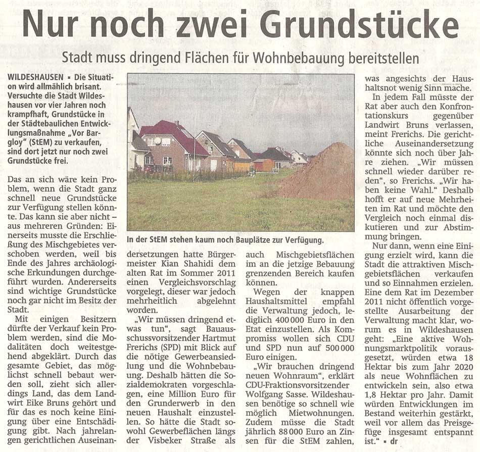 Nur noch zwei GrundstückeStadt muss dringend Flächen für Wohnbebauung bereitstellenArtikel vom 13.01.2012 (WZ)