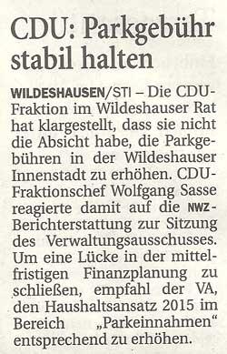 CDU: Parkgebühr stabil haltenDie CDU-Fraktion im Wildeshauser Rat hat klargestellt,...Artikel vom 19.01.2012 (NWZ)