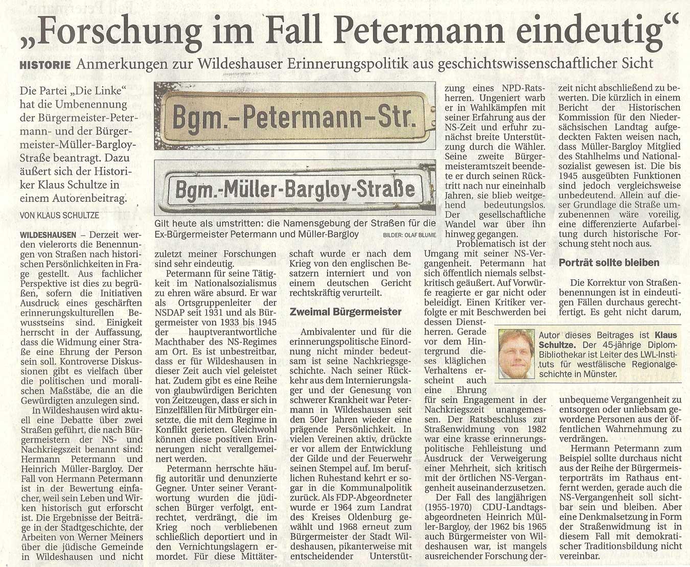 'Forschung im Fall Petermann eindeutig'Historie: Anmerkungen zur Wildeshauser Erinnerungspolitik aus geschichtswissenschaftlicher SichtArtikel vom 21.01.2012 (NWZ)