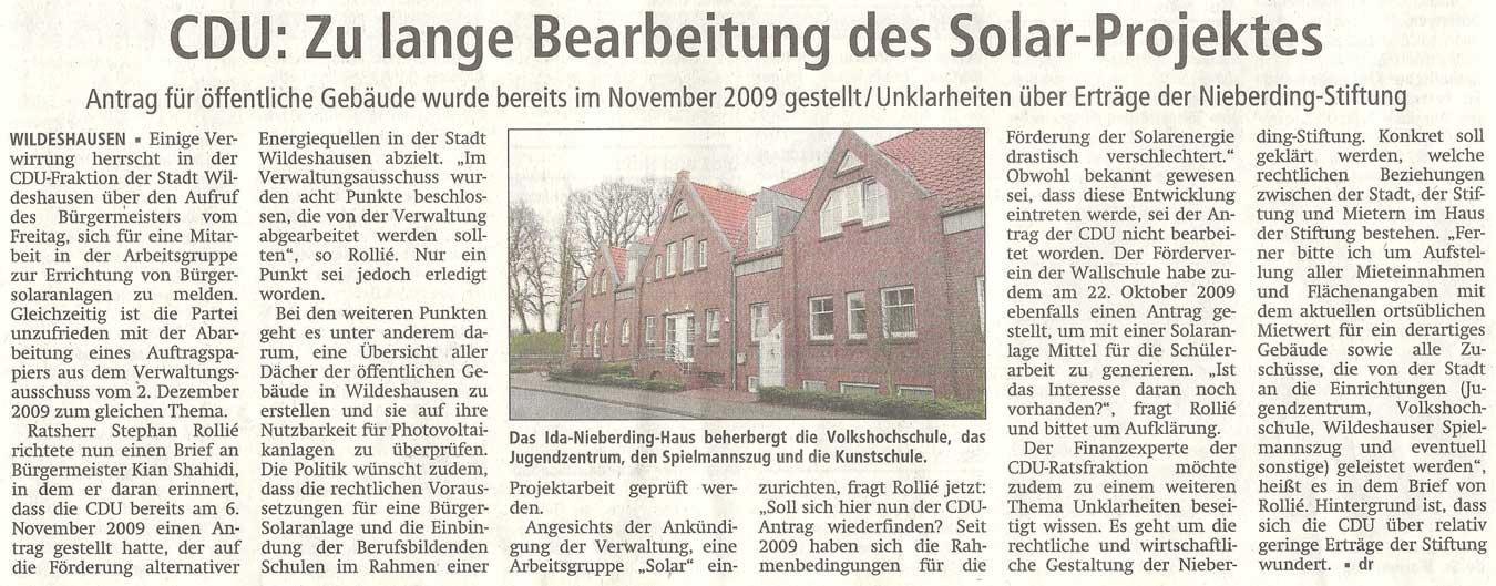 CDU: Zu lange Bearbeitung des Solar-ProjektesAntrag für öffentliche Gebäude wurde bereits im November 2009 gestellt / Unklarheiten über Erträge der Nieberding-StiftungArtikel vom 24.01.2012 (WZ)