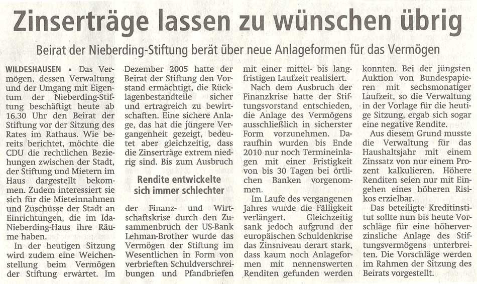 Zinserträge lassen zu wünschen übrigBeirat der Nieberding-Stiftung berät über neue Anlageformen für das VermögenArtikel vom 26.01.2012 (WZ)