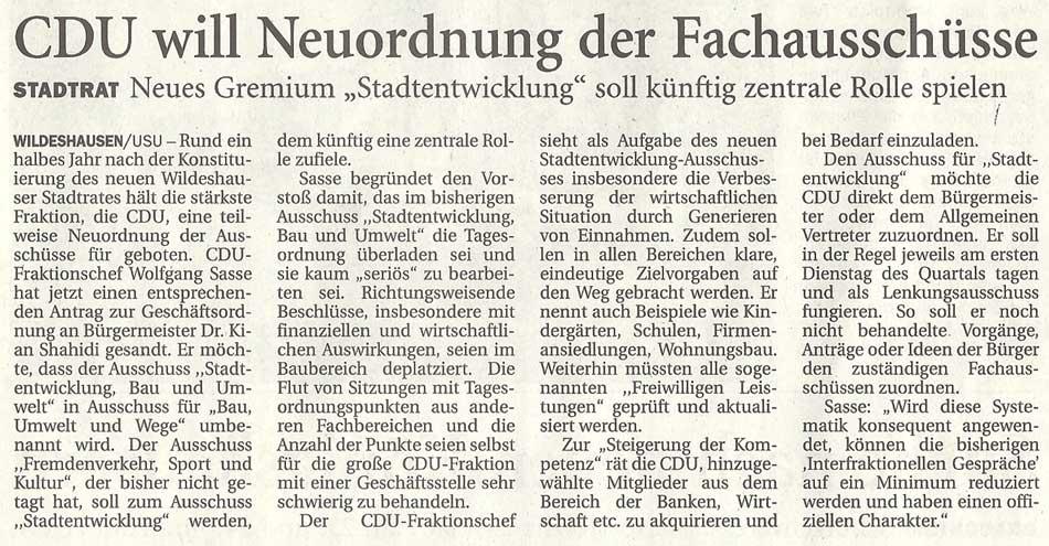 CDU will Neuordnung der FachausschüsseStadtrat: Neues Gemium 'Stadtentwicklung' soll künftig zentrale Rolle spielenArtikel vom 19.06.2012 (NWZ)