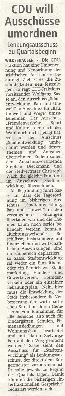 CDU will Ausschüsse umordnenLenkungsausschuss zu QuartalsbeginnArtikel vom 20.06.2012 (WZ)
