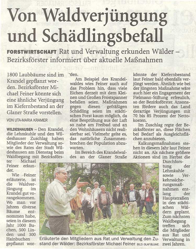 Von Waldverjüngung und SchädlingsbefallForstwirtschaft: Rat und Verwaltung erkunden Wälder - Bezirksförster informiert über aktuelle MaßnahmenArtikel vom 21.06.2012 (NWZ)