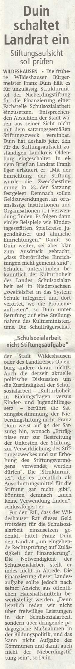 Duin schaltet Landrat einStiftungsaufsicht soll prüfenArtikel vom 25.06.2012 (WZ)