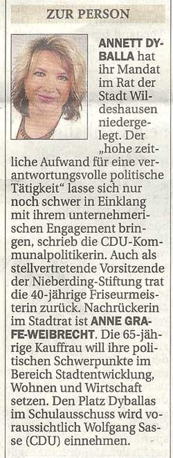 Zur Person: Annett DyballaAnnett Dyballa hat ihr Mandat im Rat der Stadt Wildeshausen niedergelegt. / Nachrückerin ist Anne Grafe-WeibrechtArtikel vom 26.06.2012 (NWZ)