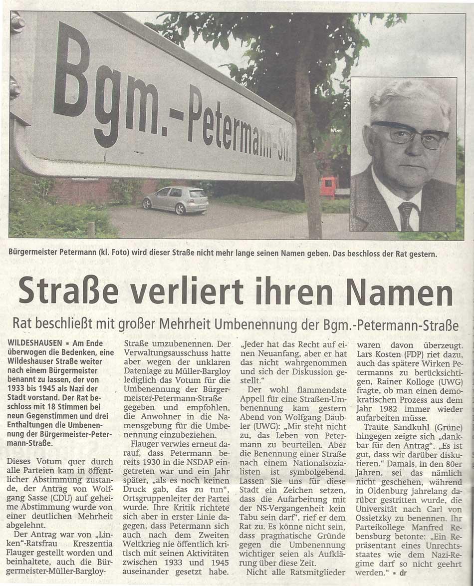Straße verliert ihren NamenRat beschließt mit großer Mehrheit Umbenennung der Bgm.-Petermann-StraßeArtikel vom 27.06.2012 (WZ)