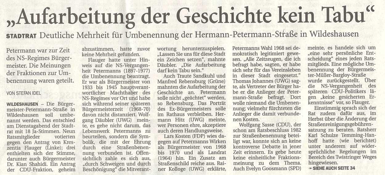 'Aufarbeitung der Geschichte kein Tabu''Stadtrat: Deutliche Mehrheit für Umbenennung der Hermann-Petermann-Straße in WildeshausenArtikel vom 27.06.2012 (NWZ)