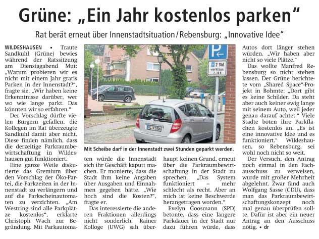 Grüne: 'Ein Jahr kostenlos parken'Rat berät erneut über Innenstadtsituation / Rebensburg: 'Innovative Idee'Artikel vom 28.06.2012 (WZ)