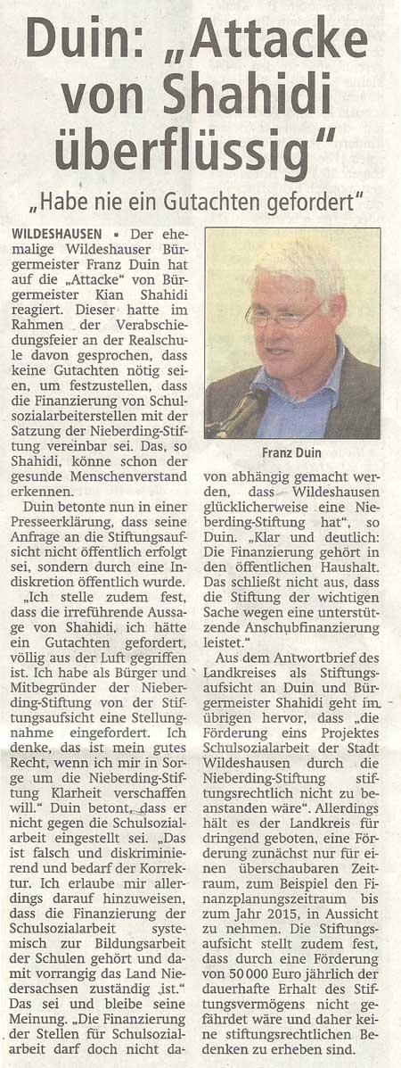 Duin: 'Attacke von Shahidi überflüssig''Habe nie ein Gutachten gefordert'Artikel vom 02.07.2012 (WZ)