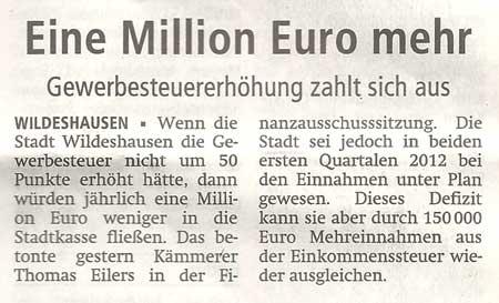 Eine Million Euro mehrGewerbesteuererhöhung zahlt sich ausArtikel vom 04.07.2012 (WZ)