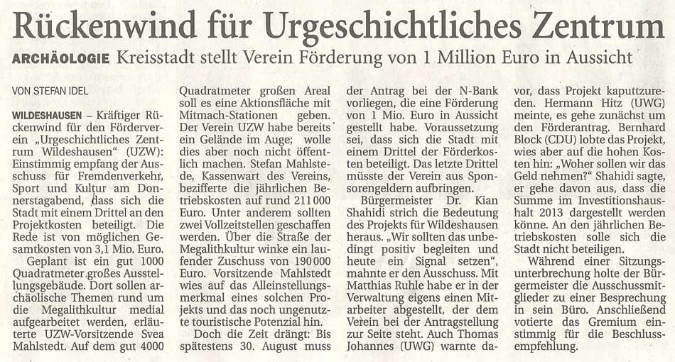 Rückenwind für Urgeschichtliches ZentrumArchäologie: Kreisstadt stellt Förderung von 1 Million Euro in AussichtArtikel vom 06.07.2012 (NWZ)