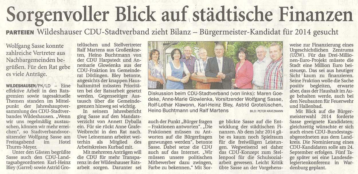 Sorgenvoller Blick auf städtische FinanzenParteien: Wildeshauser CDU-Stadtverband zieht Bilanz - Bürgermeister-Kandidat für 2014 gesuchtArtikel vom 10.07.2012 (NWZ)