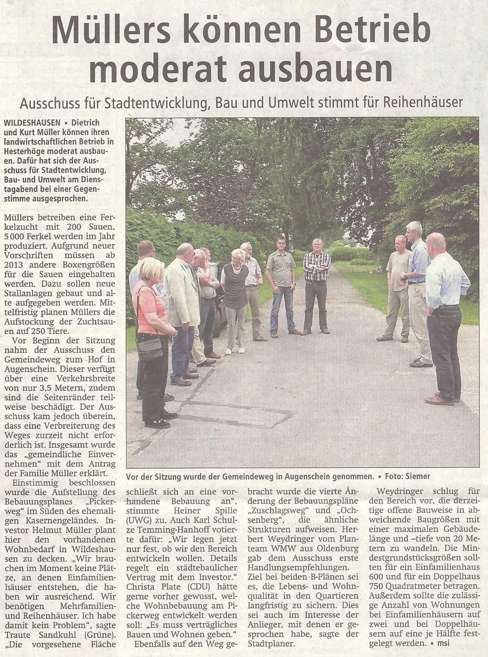 Müllers können Betrieb moderat ausbauenAusschuss für Stadtentwicklung, Bau und Umwelt stimmt für ReihenhäuserArtikel vom 12.07.2012 (WZ)