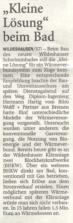 'Kleine Lösung beim Bad'Beim Bau des neuen Wildeshauser Schwimmbades...Artikel vom 12.07.2012 (NWZ)