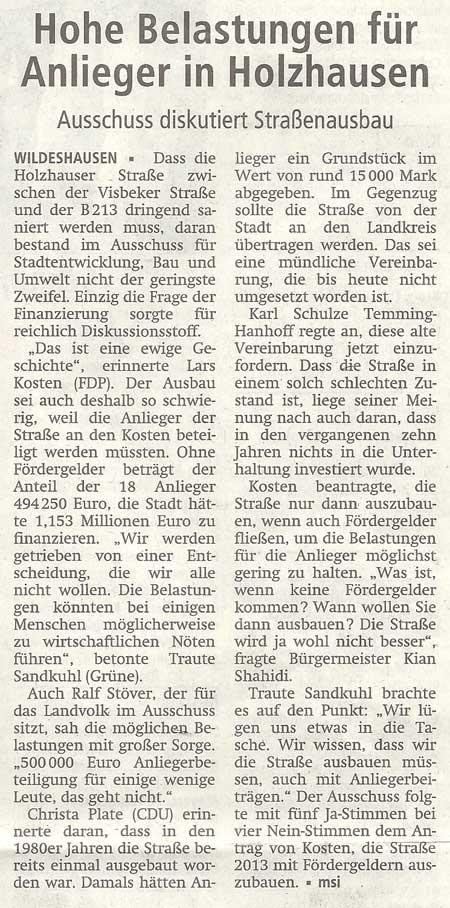 Hohe Belastungen für Anlieger in HolzhausenAusschuss diskutiert StraßenausbauArtikel vom 12.07.2012 (WZ)