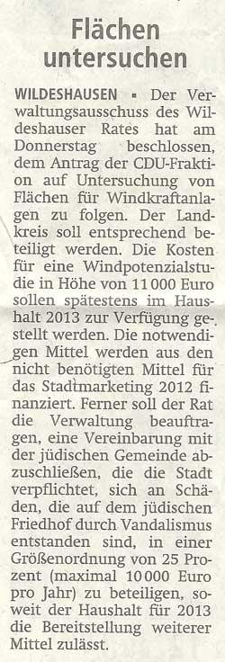 Flächen untersuchenDer Verwaltungsausschuss des Wildeshauser Rates hat am Donnerstag...Artikel vom 14.07.2012 (WZ)