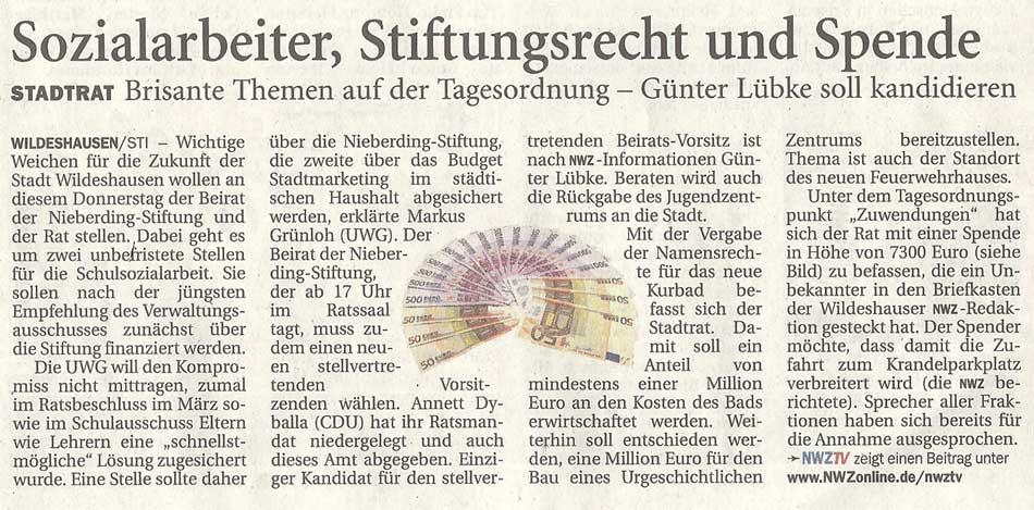 Sozialarbeiter, Stiftungsrecht und SpendeStadtrat: Brisante Themen auf der Tagesordnung - Günter Lübke soll kandidierenArtikel vom 19.07.2012 (NWZ)