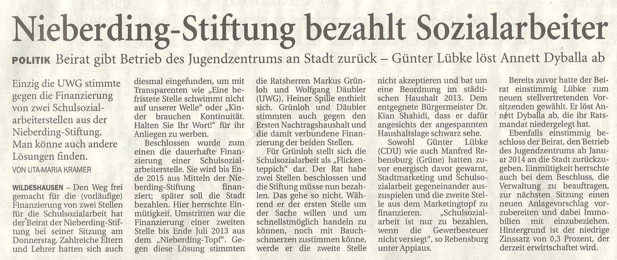Nieberding-Stiftung bezahlt SozialarbeiterPolitik: Beirat gibt Betrieb des Jugendzentrums an Stadt zurück - Günter Lübke löst Annett Dyballa abArtikel vom 20.07.2012 (NWZ)