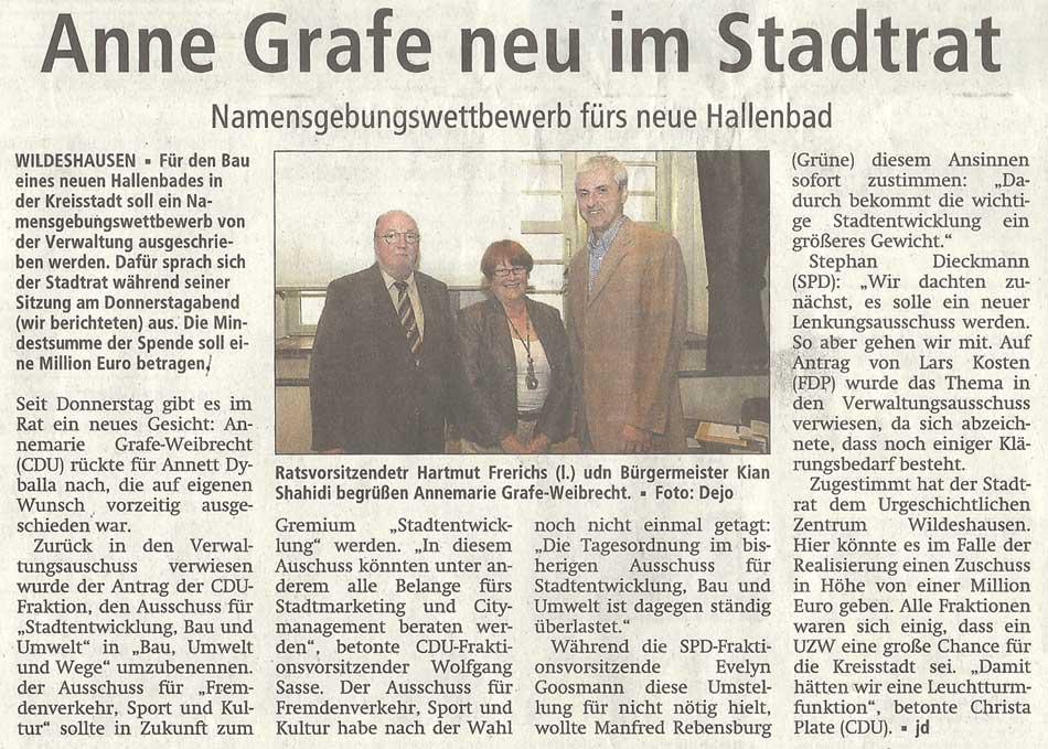 Anne Grafe neu im StadtratNamensgebungswettbewerb fürs neue HallenbadArtikel vom 21.07.2012 (WZ)