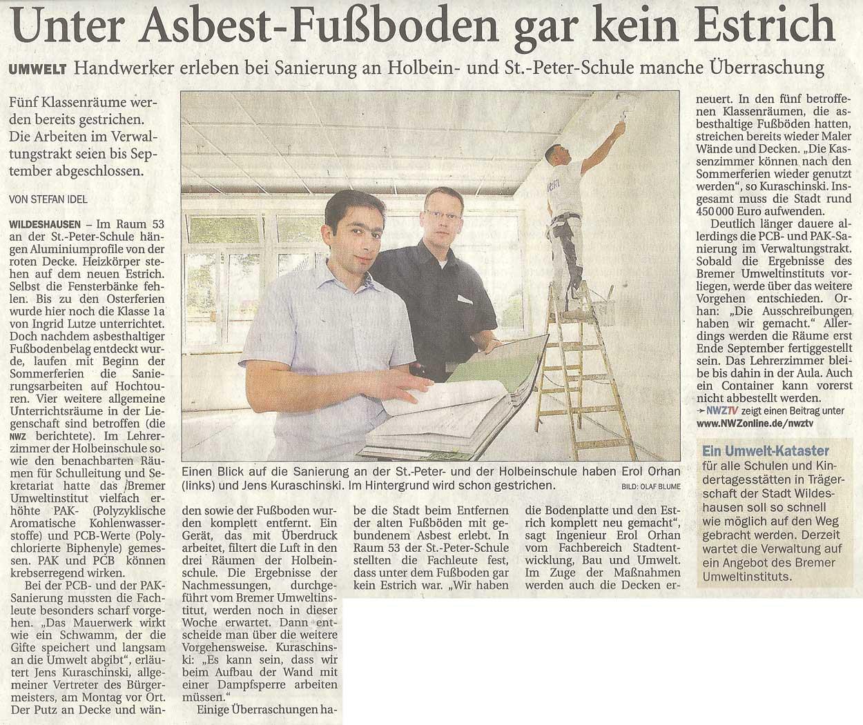 Unter Asbest-Fußboden gar kein EstrichUmwelt: Handwerker erleben bei Sanierung an Holbein- und St.-Peter-Schule manche ÜberraschungArtikel vom 24.07.2012 (NWZ)