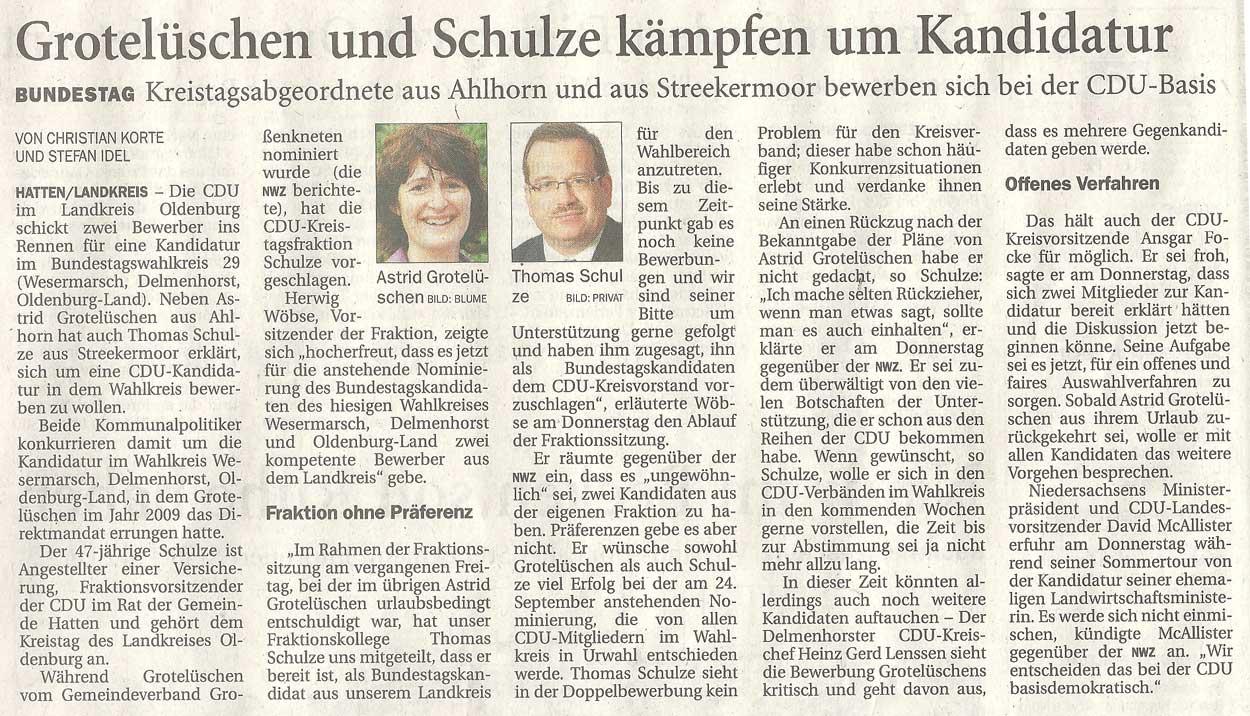 Grotelüschen und Schulze kämpfen um KandidaturBundestag: Kreistagsabgeordnete aus Ahlhorn und aus Streekermoor bewerben sich bei der CDU-BasisArtikel vom 27.07.2012 (NWZ)