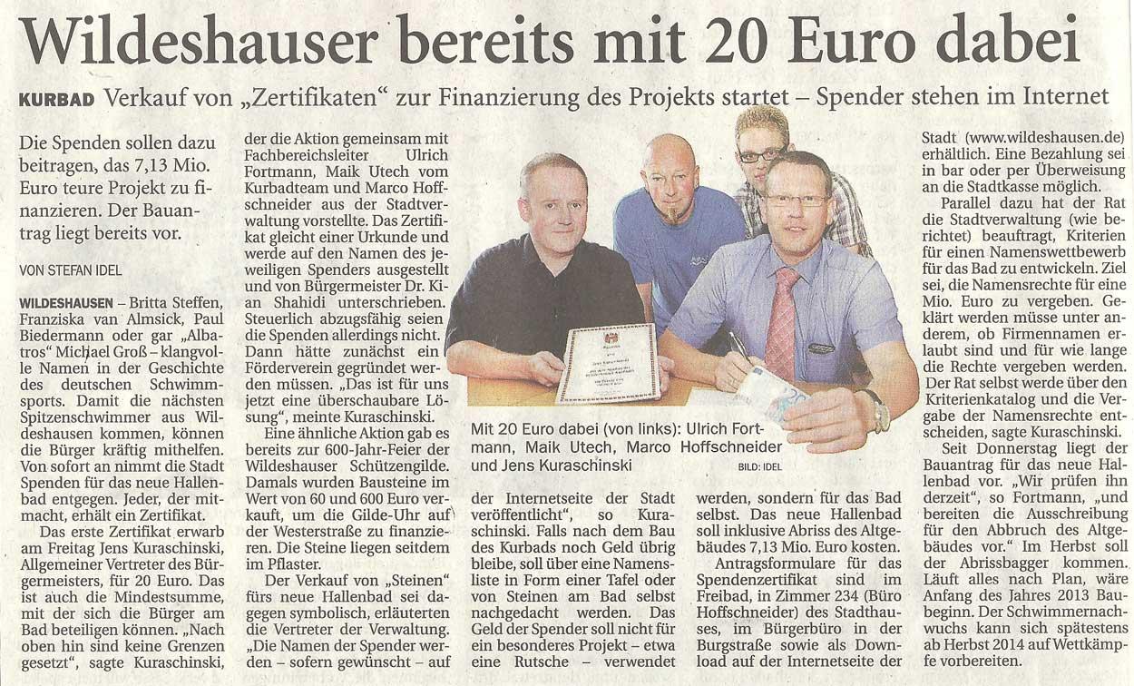 Wildeshauser bereits mit 20 Euro dabeiKurbad: Verkauf von 'Zertifikaten' zur Finanzierung des Projekts startet - Spender stehen im InternetArtikel vom 04.08.2012 (NWZ)
