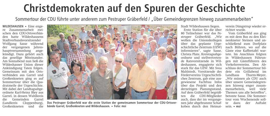 Christdemokraten auf den Spuren der GeschichteSommertour der CDU führte unter anderem zum Pestruper Gräberfeld / 'Über Gemeindegrenzen hinweg zusammenarbeiten'Artikel vom 20.08.2012 (WZ)