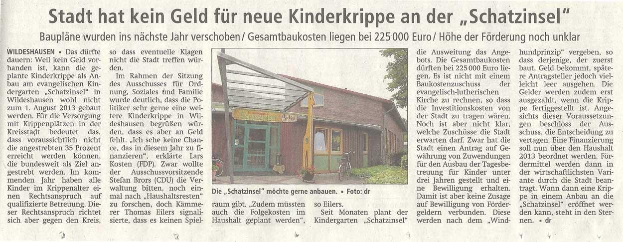 Stadt hat kein Geld für neue Kinderkrippe an der 'Schatzinsel'Baupläne wurden ins nächste Jahr verschoben / Gesamtkosten liegen bei 225000 Euro / Höhe der Förderung noch unklarArtikel vom 06.09.2012 (WZ)