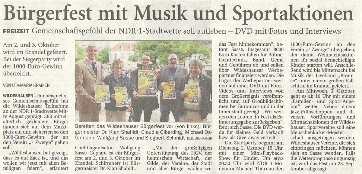 Bürgerfest mit Musik und SportaktionenFreizeit: Gemeinschaftsgefühl der NDR 1 - Stadtwetter soll aufleben - DVD mit Fotos und InterviewsArtikel vom 07.09.2012 (NWZ)