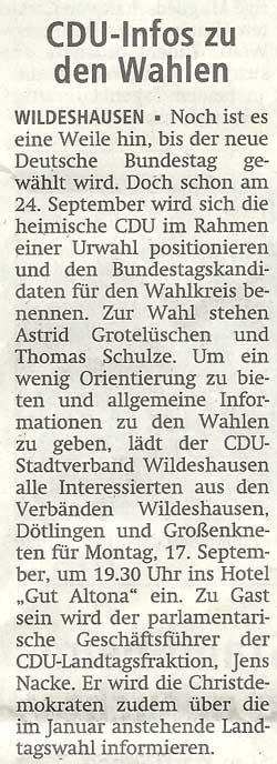 CDU-Infos zu den WahlenNoch ist es eine Weile hin, bis der neue Deutsche Bundestag...Artikel vom 13.09.2012 (WZ)