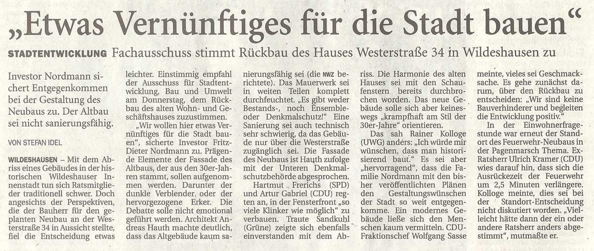 'Ewas Vernüftiges für die Stadt bauen'Stadtentwicklung: Fachausschuss stimmt Rückbau des Hauses Westerstraße 34 in Wildeshausen zuArtikel vom 14.09.2012 (NWZ)