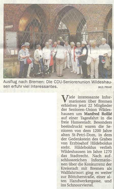 Senioren-Union in BremenAusflug nach Bremen: Die CDU-Senioren-Unioen Wildeshausen erfuhr viel Interessantes.Artikel vom 21.09.2012 (NWZ)