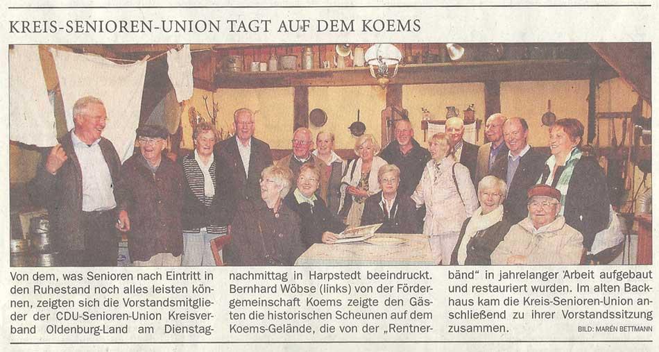 Kreis-Senioren-Union tagt auf dem KömsVon dem, was Senioren nach Eintritt in den Ruhestand...Artikel vom 26.09.2012 (NWZ)