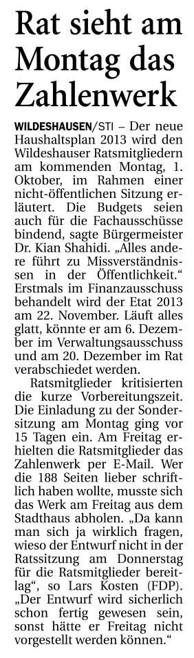 Rat sieht am Montag das ZahlenwerkDer neue Haushaltsplan 2013 wird den Wildeshauser Ratsmitgliedern...Artikel vom 29.09.2012 (NWZ)